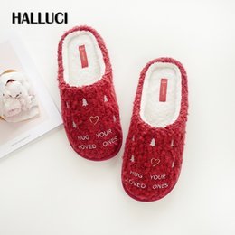 973fd5858 HALLUCI Sexy Red wedding Home slippers shoes for woman simple winter indoor  keep warm floor coon slippers babouche Christmas