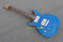 Canada La guitare électrique Customzied pour gauchers de marque Wholesale-2018 Factory avec corps bleu et frettes marquées Offre