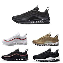 eaf1ff39217 2018 new hot sale 97 OG Premium Running Shoes Triple black Metallic Gold  Silver Bullet WHITE 3M 97 sneaker sports shoes for men