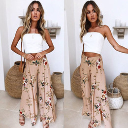 2e6528a3a65 2018 Spring Women Pants Flower Printed Loose Pants Wide Leg Pants Trousers  Summer Fashion Women Clothes