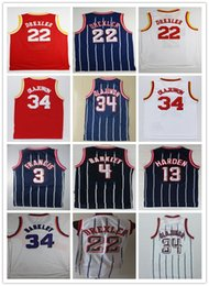 Wholesale basketball barkley - Mens #22 Clyde Drexler Jersey 4 Charles Barkley 34 Hakeem Olajuwon White Blue Stripe 3 Steve Francis 13 James Harden Basketball Jerseys