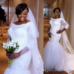 Wholesale long white dress scalloped neck - White African Black Girls Mermaid Wedding Dresses Scoop Neck 3 4 Sleeves Tiered Tulle Lace Appliques Bridal Gown Wedding Dress Tiered Tulle