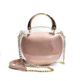 Пластиковые желе онлайн-2018 Hot Sale Transparent Plastic Crossbody bag Metal hand Bag Women Fashion Beach Tote Sweet Lady Jelly PVC Clear Composite