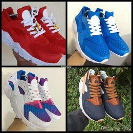 Wholesale id shoes - Air Huarache Ultra ID Custom Running Shoes For Men Women,Mens Hurache Red Multicolor Navy Blue Tan Denim Huaraches Sports Huraches Sneakers