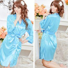 Wholesale Lace Kimono Bathrobe - 2017 Lace sleeve sexy women nightwear robes wedding kimono satin silk female bathrobes bridemaids robes