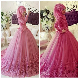 Wholesale Wedding Dresses Long Sleeves Hijab - High Neck Long Sleeves Wedding Dress Lace Appliques Bridal Gowns 2018 Islamic Hijab Muslim Custom Formal Long Vestidos De Novia Custom