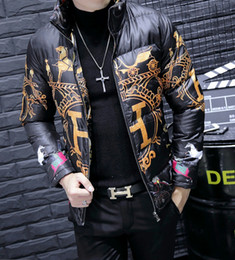 korean black clothes Coupons - Fashion tide men's high-end men's collar printing cotton coat Korean Slim warm jacket fashion jacket men's cotton clothing