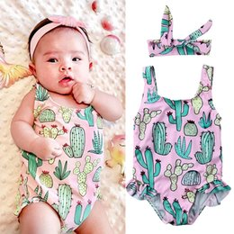 Wholesale Baby Clothes Wholesale Korea - Baby Children swimsuit cactus Cute Printing girls Swimwear with bow headband beachwear Korea Style Swim clothing one-piece Set A9358