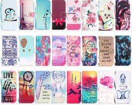 Wholesale Leather Case Iphone 5s - 60 designs Cartoon owl butterfly flower Printed Flip Stand Wallet leather Case for For iPhone 8 7 6 plus 5S SE Samsung S7 edge S6 edge S5