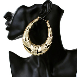 Wholesale Large Gold Circle - Wholesale- Gold Large Big Metal Circle Bamboo Hoop Earrings for Women Jewelry fashion hip hop exaggerate earrings hot sale