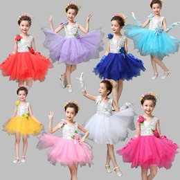 Wholesale Girl Different Dress - Spring Floral Dress Children Show Big Girl Performance Clothing Kids Dancewear Different Colors Shoulder Flower Belt 12 years old