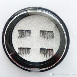 Wholesale Hand Wear - 4Pcs set New False Eyelashes 3D New Easy Wear Double Magnet Full Strip Magnetic Lashes Eyelashes Magnetic Eye Lashes Makeup