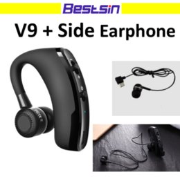 Wholesale handfree bluetooth - Bestsin V9 Bluetooth Headset CSR Chips with Side Earphone For Phone call Handfree Single Earhook Bluetooth Headset for Iphone x Samsung S9