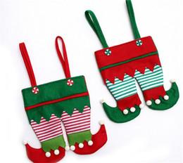 Non Tissu Tissu De Noël Elf Pantalon Bas Sac De Bonbons Enfants De Noël Parti Décoration Ornement Cadeau G284 ? partir de fabricateur
