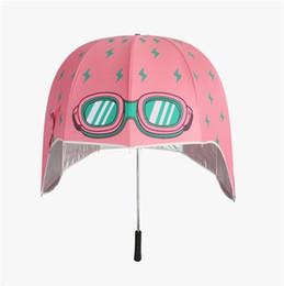 Wholesale Wholesale Uv Umbrella - New Creative Helmet Shaped Umbrella Long-handled Boys and Girls Sunshade Anti UV Creative Helmet Umbrella DHL Free