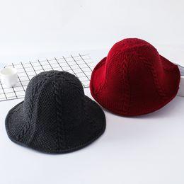 New Autumn Women Twist Pattern Solid Wool Cashmere Bucket Hats Girls Casual  Cotton Felt Knitted Bowler Caps Chapeau Femme e40bbbaf3da3