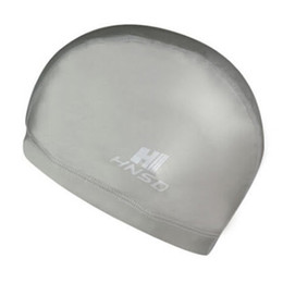 Wholesale Ear Protect - HNSD PU Cover Protect Ear Long Hair Waterdrop Swimming Caps gray