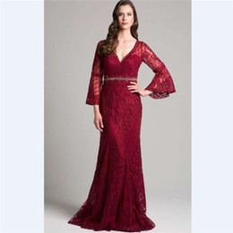 daa35f82164 2018 Elegant Red Lace Mermaid Mother s Dresses Custom 3 4 Sleeves Beads  Mother Of the Bride Dress With Belt V Neck Prom Gowns mother bride dress  train on ...