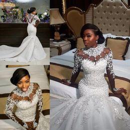 Wholesale Organza Beach Wedding Dresses - 2018 Latest Luxurious High Neck Mermaid Wedding Dresses Crystals Long Sleeve Bridal Appliques Bridal Wedding Gowns Vestido De Novia