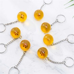 Wholesale Star Lover Light Gift - Anime Goku Dragon Ball Super Keychain 3D 1-7 Stars Cosplay Crystal Ball Key chain Collection Toy Gift key Ring