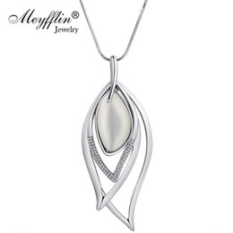 vintage opal necklaces Promo Codes - Meyfflin Long Necklaces & Pendants Vintage Silver Chain Crystal Opal Leaf Maxi Necklace Fashion Jewelry For Women Collier