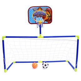 juegos Rebajas Mini 2in1 Fútbol Fútbol Goal Post Net + basektball tablero trasero Juego Niños Deporte Juegos al aire libre de interior Juguetes Regalo de cumpleaños infantil