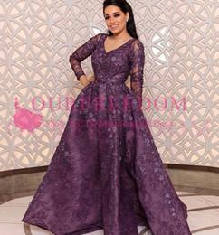 Wholesale mad custom - 2018 Elegant V Neck Long Sleeve Evening Dresses Lace Appliques Saudi Arabic Style A Line Zipper Back Formal Occasion Prom Dresses Custom Mad