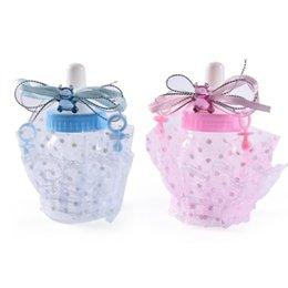 Niños bautizo decoraciones online-Linda Baby Shower Botella de Alimentación Caja de Dulces Regalo de bautizo Bear Blue Boy Pink Girl Decoraciones Party Supplies