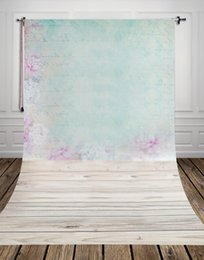 Wholesale wallpaper photography backgrounds - Pastel wallpaper and light wood floor printed photo studio backdrop newborn photography backdrops background D-9633