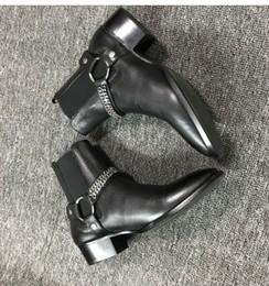 botas de invierno para hombres Rebajas Clásico Wyatt Botas occidentales de los hombres de la marca de estilo de cuero negro Motorcylcle Boots hombres de la cadena de metal de banda elástica botines zapatos otoño invierno 2018