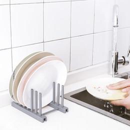 plato de secado Rebajas Plato de plástico Rack Organizador Cocina Tazón Olla Tapa Tapa Drenador Titular Estante de la Cocina Organizador de la Placa de Secado Accesorios