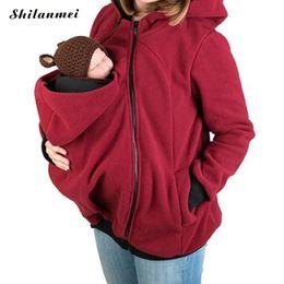 Wholesale Pregnancy Coat - Women Hoodie 2017 Winter Fleece Kangaroo Sweatshirt Baby Carrying Jacket 4XL Plus Size Kangaroo Coat For Pregnancy Women Mother
