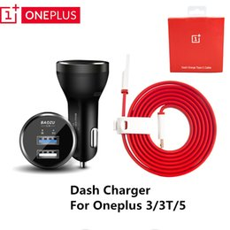 Wholesale Cigarette Lighter Cables - Oneplus Dash Car Charger Dual Usb Fast Charing For One plus 3 3T 5 5T,cigarette lighter Adapter with 100 150 Red noodles Cable