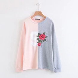 Wholesale Matching Sweatshirt - Chic 2018 Spring New Arrival O Neck Floral Embroidery Sweatshirt All-match Slim Hit Color Moleton Feminino Inverno Free Shipping