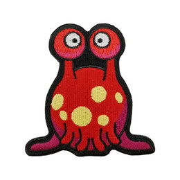 Wholesale Pink Iron Patches - Cute Red And Pink Alien Life Iron on Or Sew On Embroidered Patch - 2.9x3 Inch Free Shipping