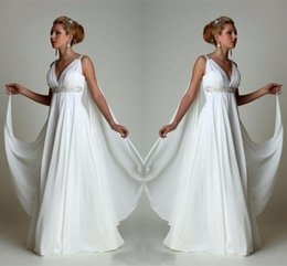 plus größe griechische brautkleider Rabatt Einfache Chiffon Empire Taille Strand Brautkleider Griechischen Modernen V-ausschnitt Plus Size Brautkleid Günstige Vestido Brautkleider