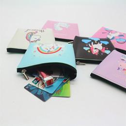 Wholesale waterproof zipper wallet - Lovely Cartoon Wallet Unicorn PU Zipper Coin Purse Simple Fashion Waterproof Storage Bag Short Style Printing 2 3wc Y