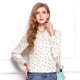 Wholesale Navy Chiffon Blouse Women - new fashion Polka Dot Printed Blouse Shirt Women Long Sleeve Cotton Work Wear Blouses White Print Blusa Feminina Navy Top 2018