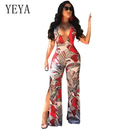 b7909f9fa18 YEYA Women Sexy Backless Lace Up Printed Jumpsuit Rompers Summer Sleeveless  V Neck Side Split Wide Leg Jumpsuits Casual Overalls discount casual summer  ...