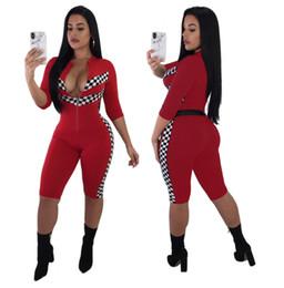 2019 calças de xadrez vermelhas mais tamanho Sexy Macacão Skinny Mulheres Macacões Xadrez Vermelho Verão Moda Treino de Fitness Curto One Piece Calças Playsuits Plus Size calças de xadrez vermelhas mais tamanho barato