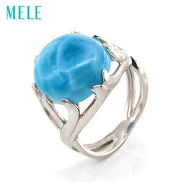 natural blue gemstones Promo Codes - Top qualitr natural larimar 925 sterling silver rings for women and man,big oval gemstone with blue color fine trendy jewelryY1883003