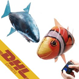 Wholesale Inflatable Flying Shark - Hot Sales Air Swimmer IR RC Shark Clownfish Flying Fish Assembly Clown Fish Remote Control Balloon Inflatable Toys for Kids DHL Free