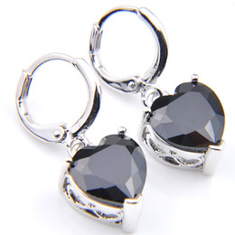 sterling silver black cubic zirconia Promo Codes - 10Prs Luckyshine Fashion Shine Heart Fire Black Onyx Cubic Zirconia Gemstone Silver Dangle Earrings for Holiday Wedding Party