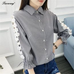 Wholesale Sexy Pearl Blouse - 2018 Women Blouse Tops Striped Shirt Autumn Casual Clothes long Sleeve Pearl Shirt Hollow Out Sexy Office Shirts camisas mujer
