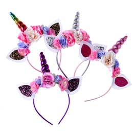 Wholesale Hair Accessories Combs Bands - Flower Unicorn Headband Cosplay Costume Unicornio Party Accessories Hair Accessories Boutique Hair Bows Designer Head band