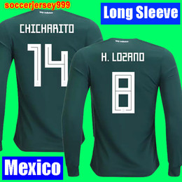 Wholesale R H - H LOZANO Mexico soccer jersey Long sleeve 2018 CHICHARITO R MARQUEZ G DOS SANTOS world cup football shirt camisetas de futbol uniform kit
