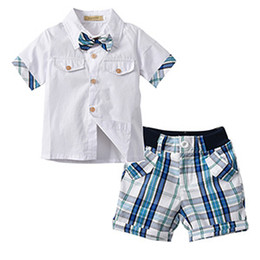 boys preppy suits Coupons - 2018 summer boutique children's suit INS boys gentleman suit men's Bow tie short-sleeved shirt plaid shorts two-piece free shipping H010
