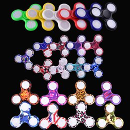 Wholesale Light Up Spin Top - Rainbow LED Light Up Hand Fidget Spinner Triangle Finger Spinning Top Colorful Decompression Dragon Fingers Tip Tops Toys OTH384