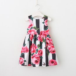 Wholesale Fashion Cute Dresses - Vieeolove Girls Floral Dress Kids Clothing 2018 Spring Summer Cute Print Dress Fashion Sleeveless Vest Floral Princess Dress VL-104