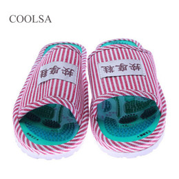 Wholesale Massage Acupoint - Women Summer Foot Acupoint Massage Cotton Shoes Lady Foot Health Care Magnet Slippers Striped Pattern Indoor Shoes For Women Hot